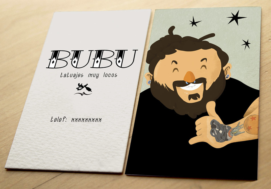 Business card celsius illustration art direction business card illustrations and typography for the identity of bubu one of the tattoo artists of study lacosanostratattoo colourmoves